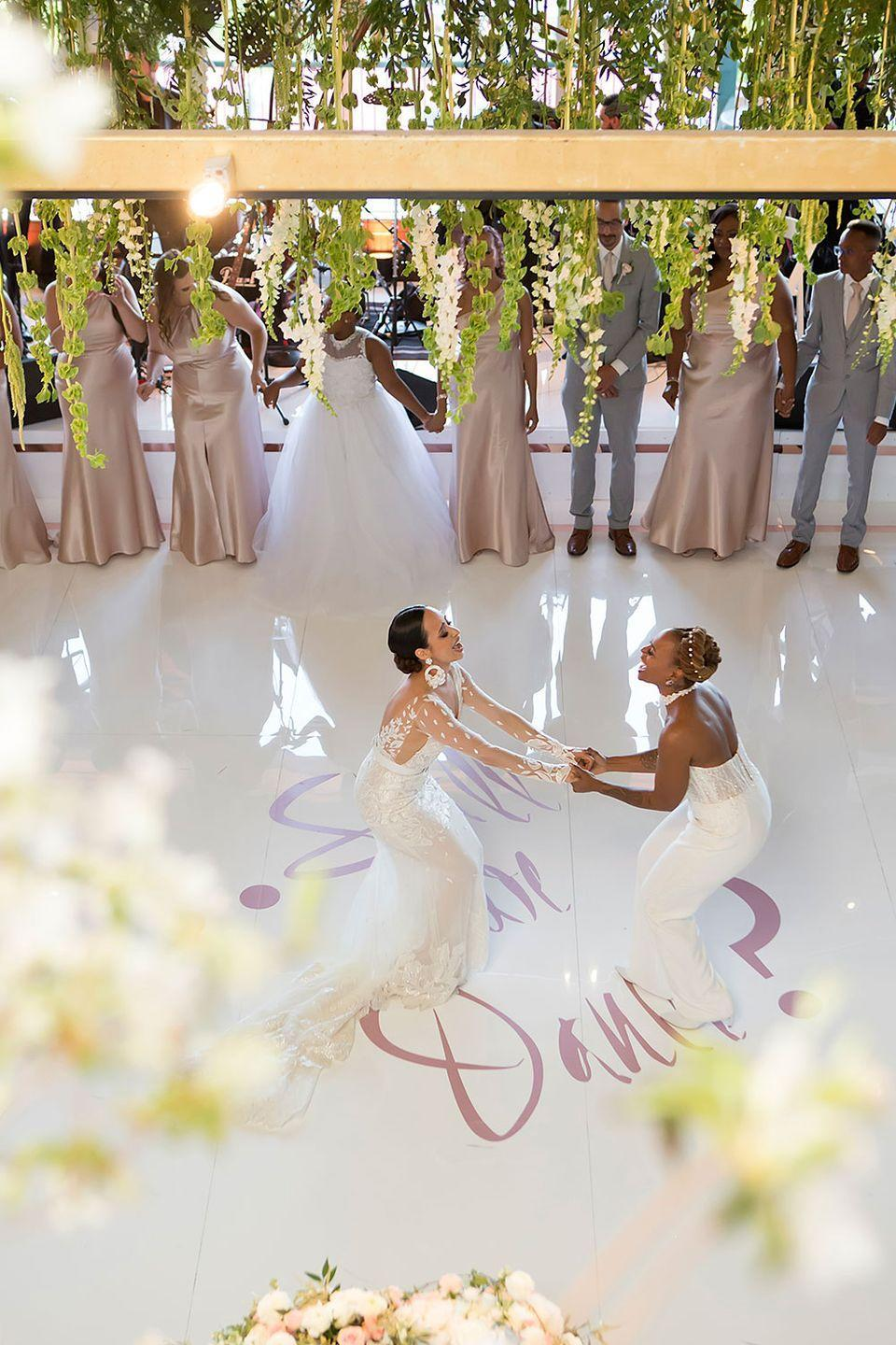 """<p>Everyone cleared the dance floor to watch Yani and Divinity have a musical moment together at their wedding on May 19, 2019. """"Twelve years ago Beyoncé may have brought us together, but on our wedding day, we certainly chose to put our 'Love on Top'!""""</p>"""