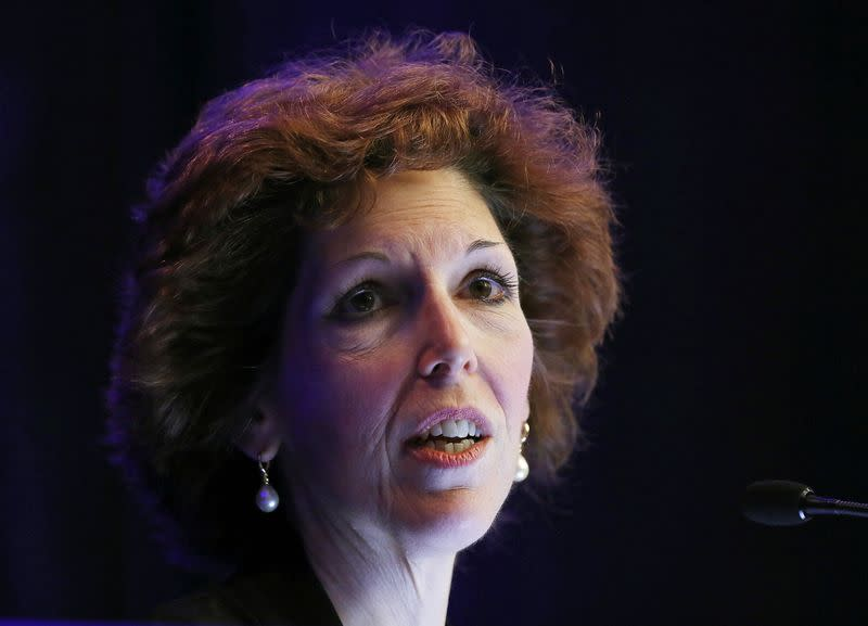Cleveland Federal Reserve Bank President and CEO Loretta Mester gives her keynote address at the 2014 Financial Stability Conference in Washington