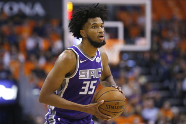 """Former No. 2 overall pick <a class=""""link rapid-noclick-resp"""" href=""""/nba/players/5959/"""" data-ylk=""""slk:Marvin Bagley III"""">Marvin Bagley III</a> will miss significant time to start the season. (AP Photo/Rick Scuteri)"""
