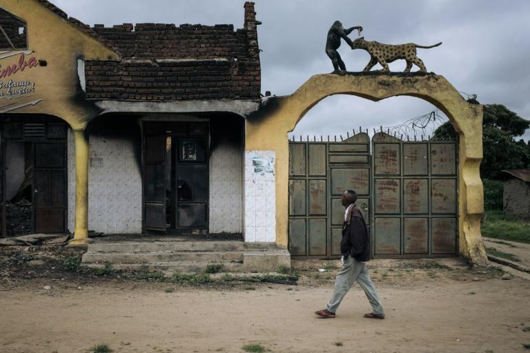 Ruins: A store in Mutwanga that was looted and burned during a recent attack