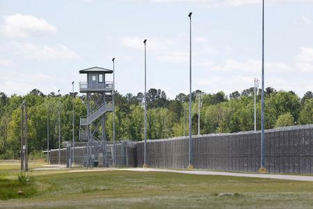 FILE PHOTO: A guard tower is seen at the Lee Correctional Institution in Bishopville, Lee County, South Carolina, U.S., April 16, 2018.   REUTERS/Randall Hill/File Photo