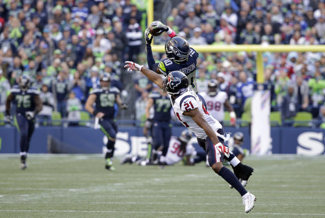 Paul Richardson, roasting the Houston Texans. (AP Photo/Elaine Thompson)