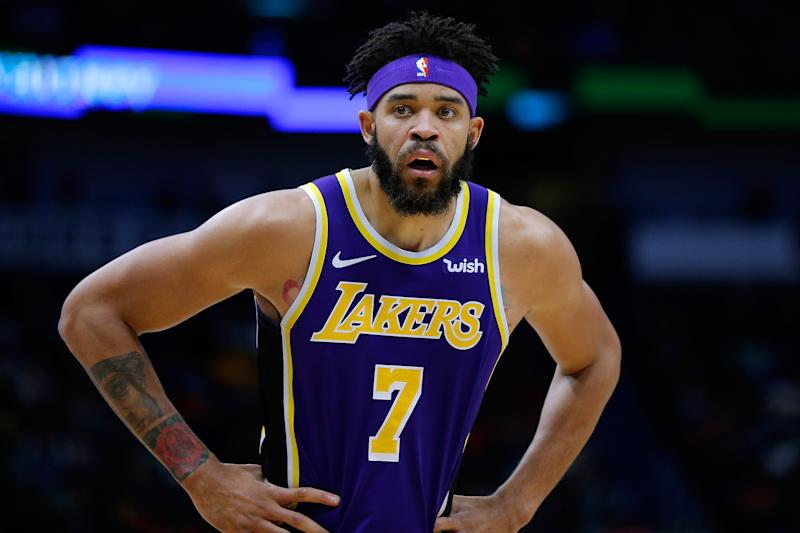 NEW ORLEANS, LOUISIANA - FEBRUARY 23: JaVale McGee #7 of the Los Angeles Lakers reacts during the second half against the New Orleans Pelicans at the Smoothie King Center on February 23, 2019 in New Orleans, Louisiana. NOTE TO USER: User expressly acknowledges and agrees that, by downloading and or using this photograph, User is consenting to the terms and conditions of the Getty Images License Agreement. (Photo by Jonathan Bachman/Getty Images)