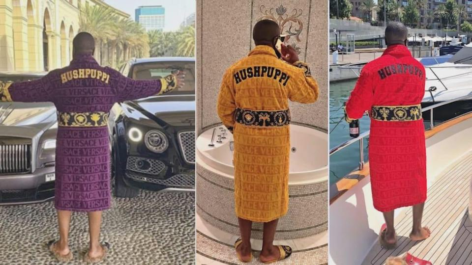 "<div class=""inline-image__caption""> <p>Ray Hushpuppi had a penchant for personalized robes.</p> </div> <div class=""inline-image__credit""> U.S. District Court/Instagram </div>"