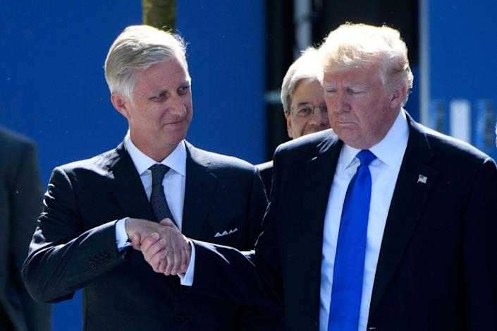 <p>King Philippe of Belgium and President Donald Trump during the North Atlantic Treaty Organisation (NATO) summit in Brussels, Belgium on May 25, 2017.<br> (Photo: Christophe Licoppe/Photonews via Getty Images) </p>