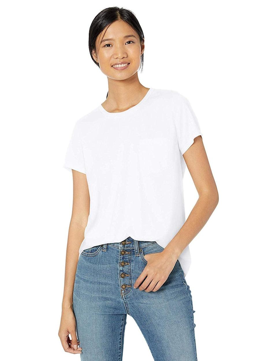 """<p>Look no further than this <a href=""""https://www.popsugar.com/buy/Goodthreads-Washed-Jersey-Cotton-Pocket-Crewneck-T-Shirt-537498?p_name=Goodthreads%20Washed%20Jersey%20Cotton%20Pocket%20Crewneck%20T-Shirt&retailer=amazon.com&pid=537498&price=15&evar1=fab%3Aus&evar9=47252524&evar98=https%3A%2F%2Fwww.popsugar.com%2Ffashion%2Fphoto-gallery%2F47252524%2Fimage%2F47252557%2FGoodthreads-Washed-Jersey-Cotton-Pocket-Crewneck-T-Shirt&list1=shopping%2Camazon%2Cspring%20fashion%2C50%20under%20%2450&prop13=mobile&pdata=1"""" class=""""link rapid-noclick-resp"""" rel=""""nofollow noopener"""" target=""""_blank"""" data-ylk=""""slk:Goodthreads Washed Jersey Cotton Pocket Crewneck T-Shirt"""">Goodthreads Washed Jersey Cotton Pocket Crewneck T-Shirt</a> ($15) for a crisp white tee. It's not see-through (that's hard to find!), and the fit is loose but still flattering.</p>"""