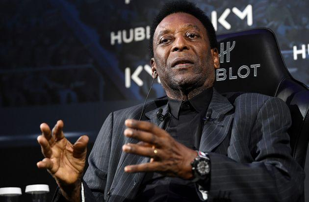 Brazilian football legend Pele take part in a meeting with Paris Saint-Germain (PSG) and France national football team forward Kylian Mbappe (unseen) at the Hotel Lutetia in Paris on April 2, 2019. (Photo by FRANCK FIFE / AFP)        (Photo credit should read FRANCK FIFE/AFP via Getty Images) (Photo: FRANCK FIFE via Getty Images)