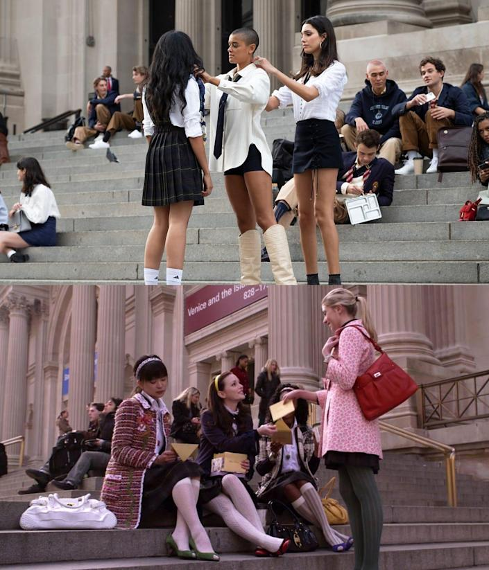 """Students gathering on the steps of The Metropolitan Museum of Art on the new """"Gossip Girl"""" series and the original show."""