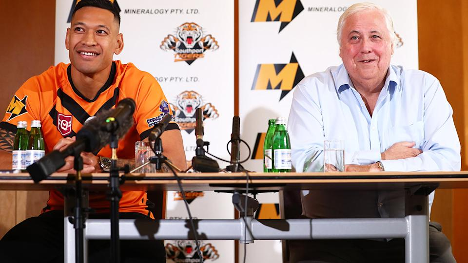 Israel Folau and Clive Palmer, pictured here at their press conference.