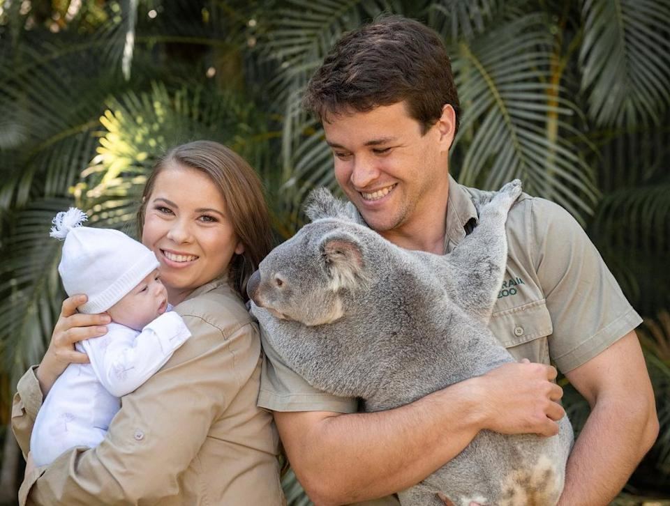 Bindi irwin and chandler powell with daughter grace warrior