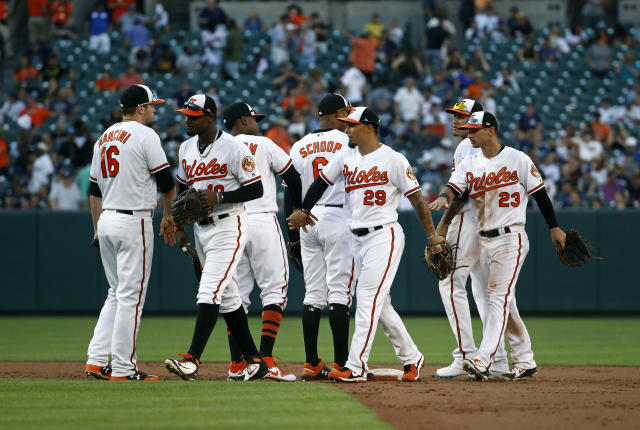 Members of the Baltimore Orioles celebrate after the first baseball game of a doubleheader against the New York Yankees, Monday, July 9, 2018, in Baltimore. Baltimore won 5-4. (AP Photo/Patrick Semansky)