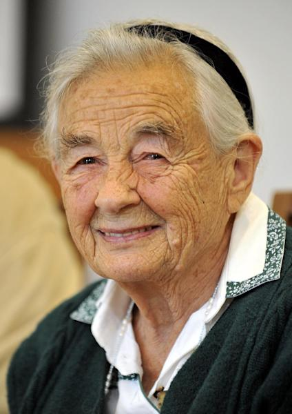 "File-This July 25, 2008 file photo shows Maria von Trapp, daughter of Austrian Baron Georg von Trapp, smiling during a press conference at the Villa Trapp in Salzburg, Austria. The last surviving member of the famous Trapp Family Singers made famous in ""The Sound of Music"" died this week at her home in Vermont. She was 99. (AP Photo/ Kerstin Joensson, File)"