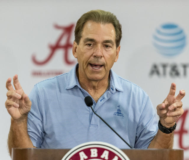 Nick Saban's Alabama team looks like the title favorite yet again this year. (AP)