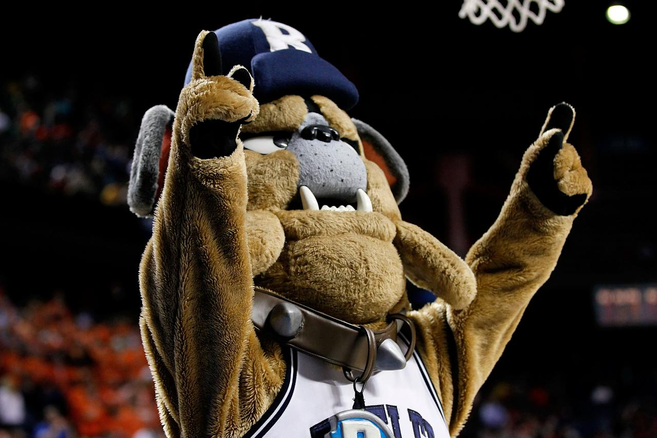 LEXINGTON, KY - MARCH 21:  Butler Blue III, mascot for the Butler Bulldogs, performs in the second half against the Bucknell Bison during the second round of the 2013 NCAA Men's Basketball Tournament at the Rupp Arena on March 21, 2013 in Lexington, Kentucky. Butler won 68-56. (Photo by Kevin C. Cox/Getty Images)