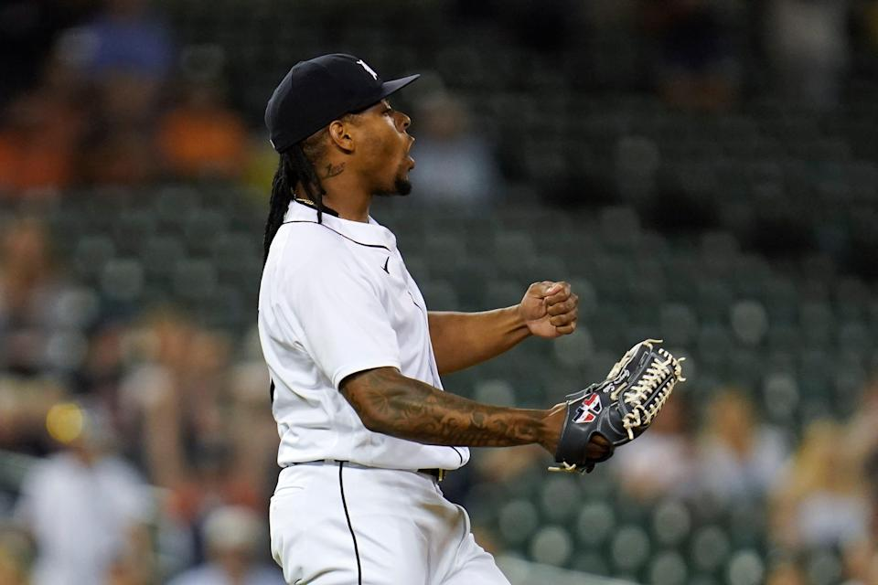 Tigers pitcher Gregory Soto reacts the the final out in the ninth inning of the Tigers' 4-2 win over the Red Sox on Tuesday, Aug. 3, 2021, at Comerica Park.
