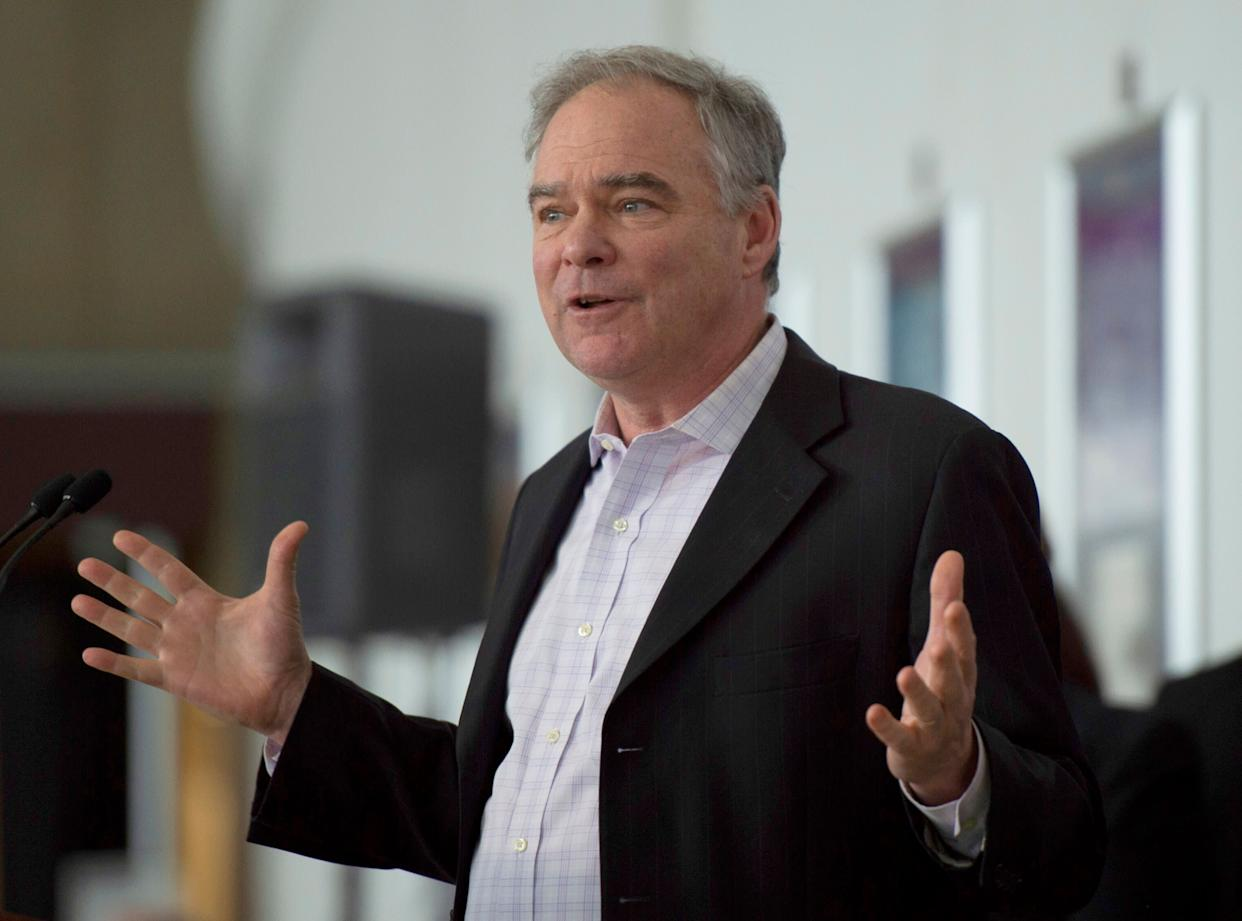 Sen. Tim Kaine (above) has said the bill he and Senate Majority Leader Mitch McConnell introduced would not allow states to preempt other tobacco regulations, but anti-tobacco advocates fear it would allow companies to address their own interests. (Photo: ANDREW CABALLERO-REYNOLDS via Getty Images)