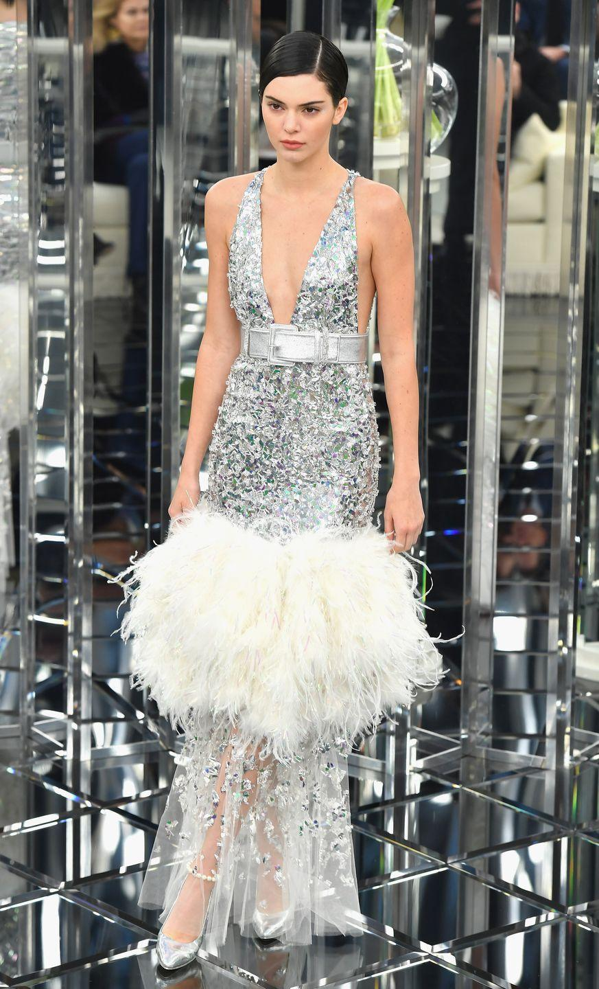 <p>In the most glitzy of all the Chanel haute couture gowns, sported by Lagerfeld's muses in Paris, January 2017</p>
