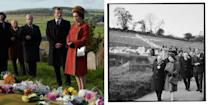 <p>Tragically, the story of the mining disaster which buried a school in the welsh village of Aberfan in 1966 is real. Queen Elizabeth visited the grieving town days later.</p>