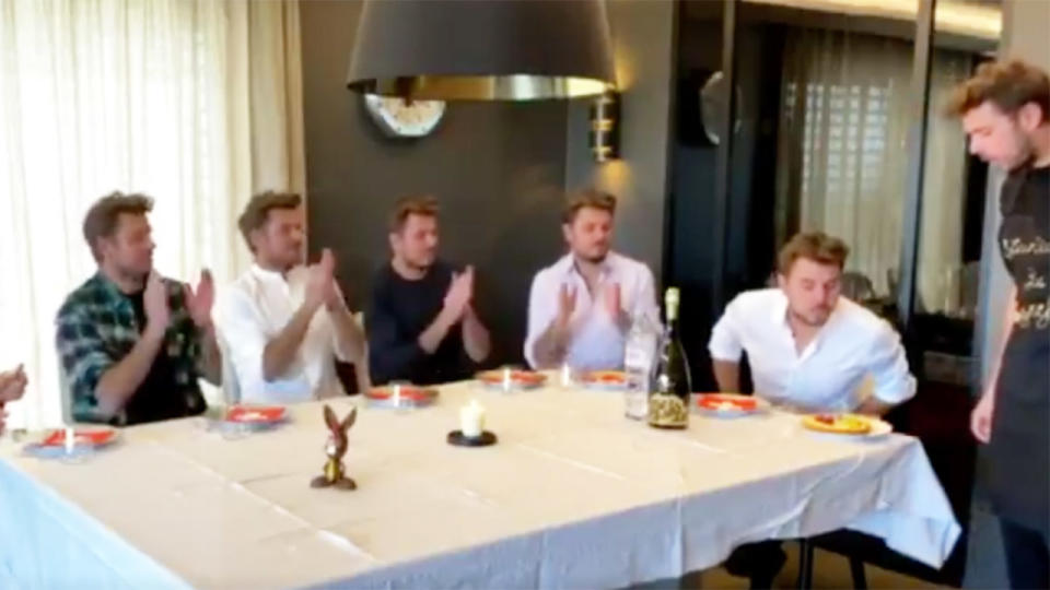 Stan Wawrinka edits himself into his own video and celebrates his birthday by blowing out the candle.