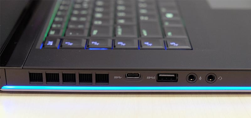 In addition to the Thunderbolt 3 port, there is a separate USB-C port on the left.