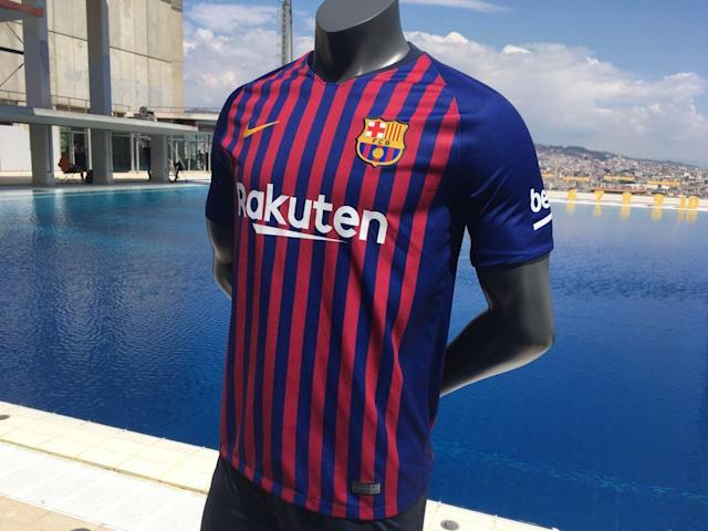 The Liga champions have released the first images of their new strip, which features the traditional blue and garnet-coloured stripes