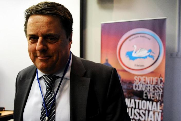 Former head of the British National Party Nick Griffin takes part in the International Russian Conservative Forum in Saint-Petersburg on March 22, 2015 (AFP Photo/Olga Maltseva)