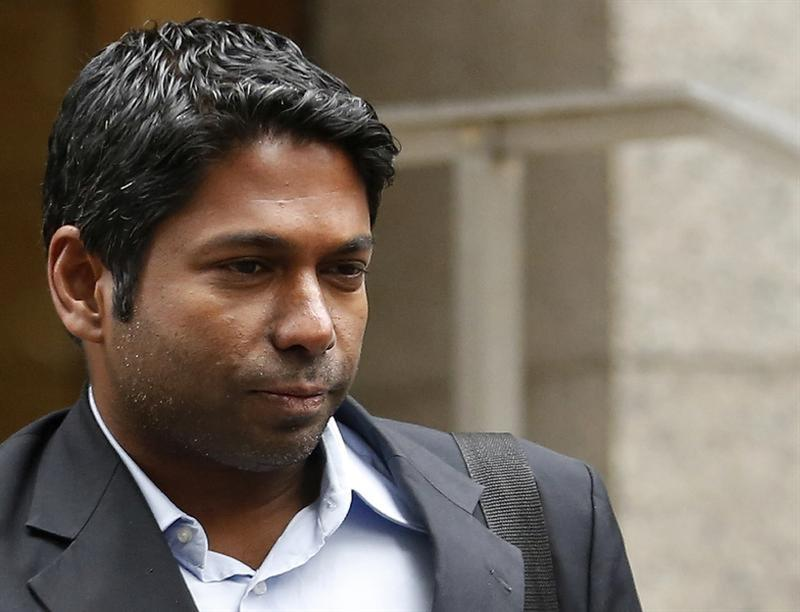 Rengan Rajaratnam, the younger brother of imprisoned hedge fund manager Raj Rajaratnam, departs Manhattan Federal Court in New York