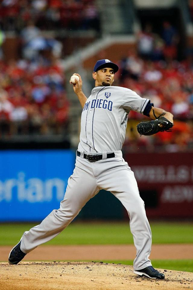 San Diego Padres starting pitcher Tyson Ross throws during the first inning of a baseball game against the St. Louis Cardinals Friday, Aug. 15, 2014, in St. Louis. (AP Photo/Scott Kane)