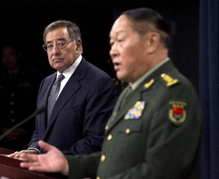 Defense Secretary Leon Panetta and and China's Minister of National Defense Gen. Liang Guanglie, speak during a news conference at the Pentagon, Monday, May 7, 2012, in Washington. (AP Photo/Manuel Balce Ceneta)