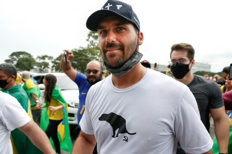 Eduardo Bolsonaro, son of President Jair Bolsonaro, takes part in a demonstration in support of the Brazilian leader in Brasilia on May 1, 2021