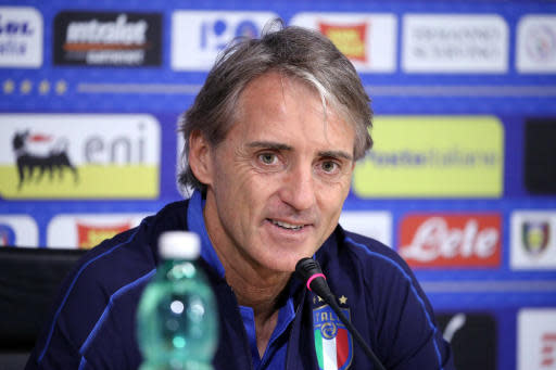 Roberto Mancini, coach of the Italian national soccer team, speaks during a press conference at the Coverciano Sports Center, near Florence, Italy, Thursday, May 24, 2018. (Claudio Giovannini/ANSA via AP)