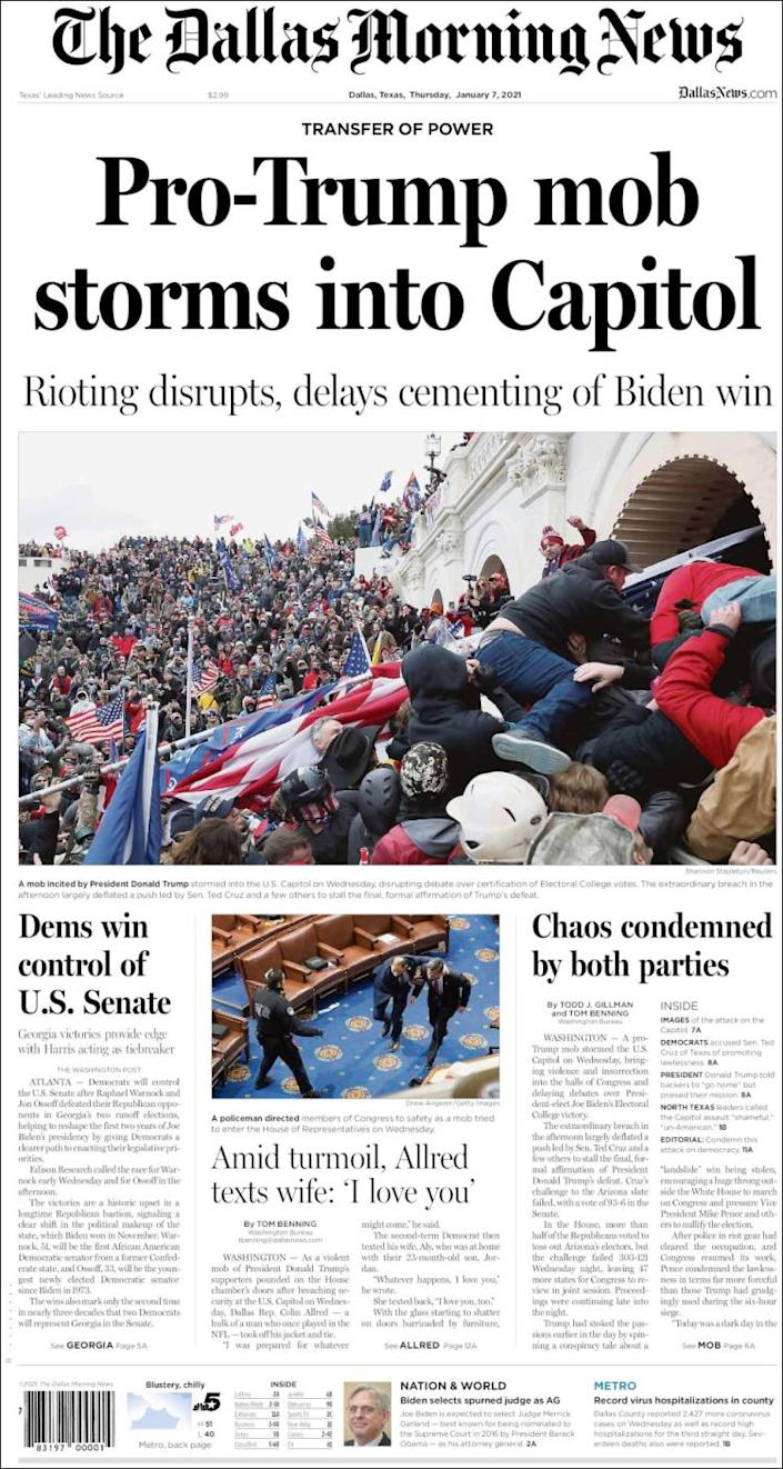Front page of the Dallas Morning News on Thursday