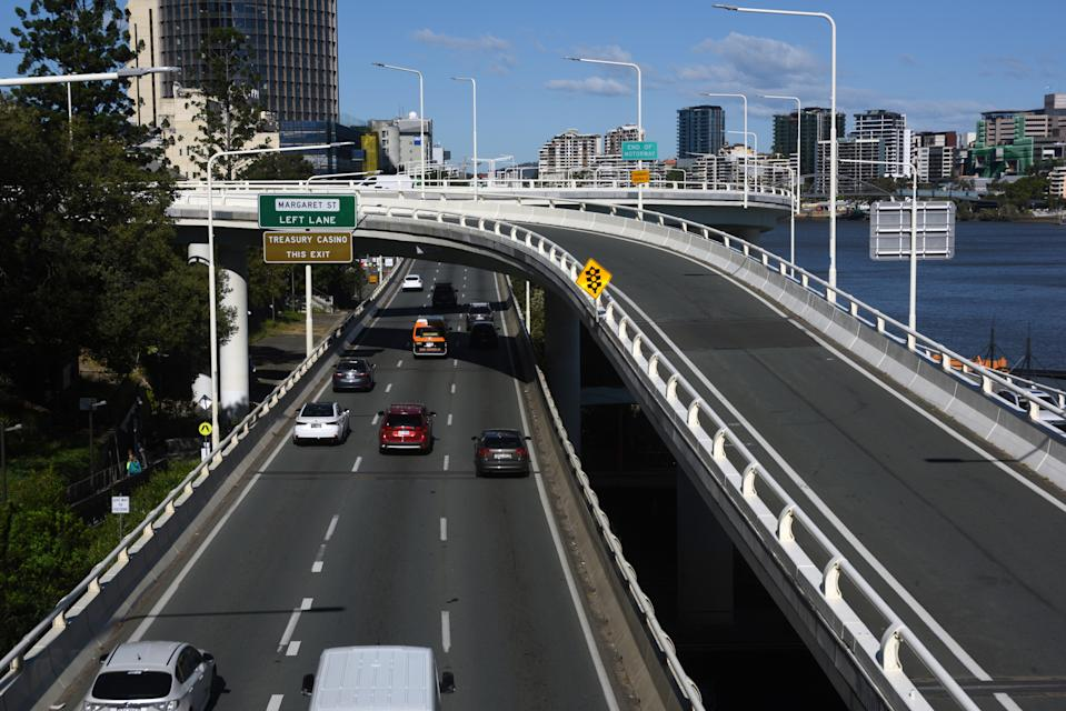 The Riverside Expressway heading south at the Elizabeth Street exit ramp on the northern banks of the Brisbane River.