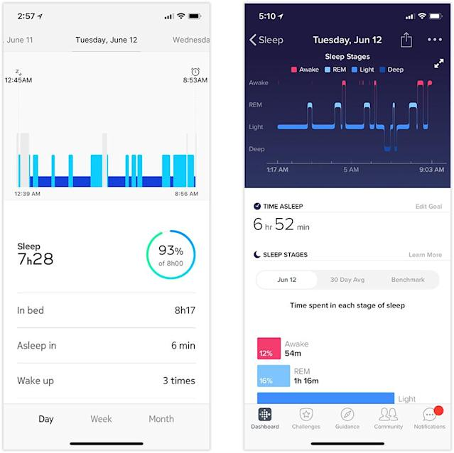 Nokia's sleep stats (left) are more generous than a Fitbit's (right).