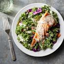 <p>Curly kale forms the base of this salad, but you could use chard or spinach. To the greens, add a multitude of chopped veggies, such as broccoli, cabbage and carrots. Finish with rich salmon for protein and a drizzle of creamy yogurt dressing to bring it all together.</p>