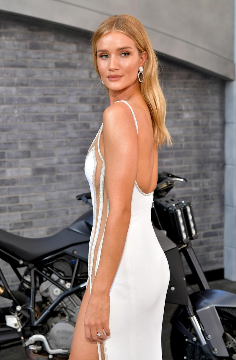 "HOLLYWOOD, CALIFORNIA - JULY 13: Rosie Huntington-Whiteley arrives at the premiere of Universal Pictures' ""Fast & Furious Presents: Hobbs & Shaw"" at Dolby Theatre on July 13, 2019 in Hollywood, California. (Photo by Emma McIntyre/Getty Images)"