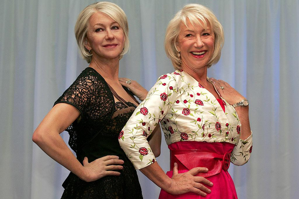 """Dame Helen Mirren came face to face with her uncannily life-like wax figure at Madame Tussaud's in London on Tuesday. Mirren joked that she wanted to be placed next to Victoria Beckham in the museum. """"I hope I'm put near Posh because I happen to love Posh,"""" said Mirren. """"Mind you I'm going to be a bit chunky next to Posh! She's a great girl so I'd be honored to be put next to her."""" (FYI: the real Mirren is the one on the right.) <a href=""""http://www.splashnewsonline.com"""" target=""""new"""">Splash News</a> - May 11, 2010"""
