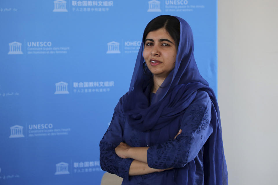 Nobel Laureate Malala Yousafzai poses for photographs during the Education and Development G7 ministers Summit, in Paris, France, Friday July 5, 2019. France is hosting the rotating presidency of the G7 in 2019. The 45th G7 Summit will be held in August in Biarritz. (Christophe Petit Tesson/pool via AP)