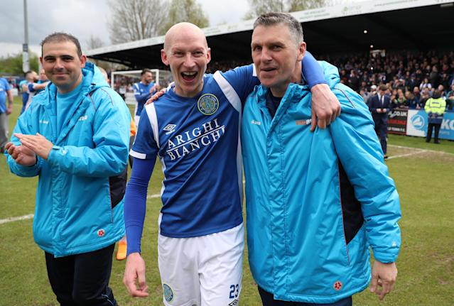 Soccer Football - National League - Macclesfield Town v Dagenham & Redbridge - Moss Rose, Macclesfield, Britain - April 28, 2018 Macclesfield Town's Danny Whitaker celebrates winning the league with manager John Askey Action Images/Peter Cziborra
