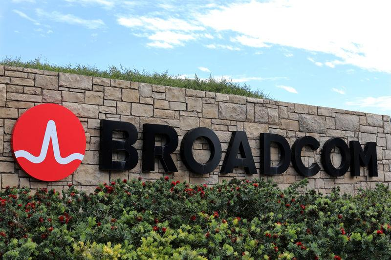FILE PHOTO - A sign to the campus offices of chip maker Broadcom Ltd, who announced on Monday an unsolicited bid to buy peer Qualcomm Inc for $103 billion, is shown in Irvine, California
