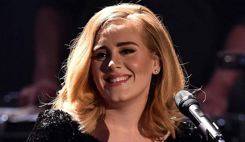 Adele at an awards ceremony in 2015.