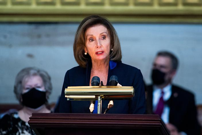Nancy Pelosi speaks during the service for US Capitol Officer William Evans on 13 April, 2021 in Washington, DC. (Getty Images)