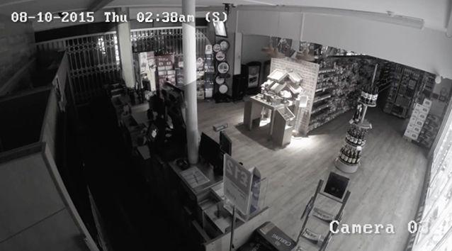 The video shows the ghostly figure sliding darkly along the side of one of the walls of the store. Photo: Youtube/Leanne Wilkinson