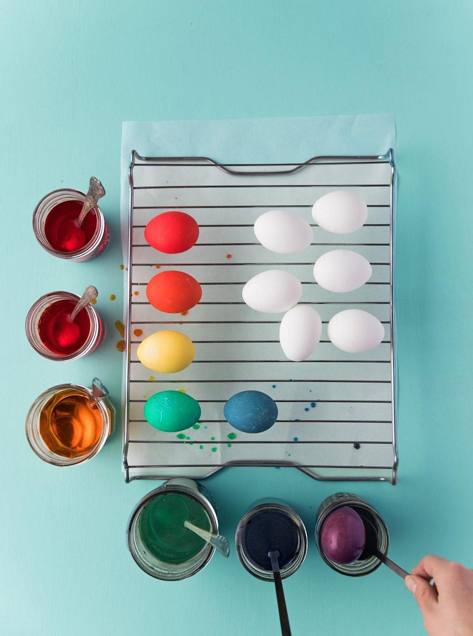 "<p>Place a wire cooling rack over a piece of parchment paper and gently lay your eggs on top. Don't try to wipe off or blot the eggs until they're completely dry!</p><p><a class=""link rapid-noclick-resp"" href=""https://go.skimresources.com/?id=74968X1525072&xs=1&isjs=1&url=https%3A%2F%2Fwww.amazon.com%2FCheckered-Chef-Cooling-Racks-Baking%2Fdp%2FB06X9KLW1P%2F%3Ftag%3Dcountryliving_auto-append-20%26ascsubtag%3D%5Bartid%7C10050.g.26810304%5Bsrc%7C%5Bch%7C%5Blt%7C&xguid=01CZ63M0HGZ95WGJYNW3QAZCC4&xuuid=9b4c55fb12baa50488d7e78338831f19&xcreo=0&xed=0&sref=https%3A%2F%2Fwww.countryliving.com%2Fpreview%2FeyJpZCI6IjAyN2U1ZjZhLWE5ZDAtNGRjNi1iOWQzLTdiMjU5NmMwYzljMyIsInR5cGUiOiJjb250ZW50IiwidmVyc2lvbiI6MCwidmVyc2lvbmVkIjpmYWxzZSwidmVyc2lvbl9jcmVhdGVkX2F0IjoiIn0%3D%2F&xtz=240&jv=13.13.8-stackpath&bv=2.5.1"" rel=""nofollow noopener"" target=""_blank"" data-ylk=""slk:SHOP COOLING RACKS"">SHOP COOLING RACKS</a></p>"