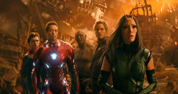 PHOTO: Tom Holland, as Spider-Man, Robert Downey Jr., as Iron Man, Dave Bautista, as Drax, Chris Pratt, as Star-Lord, and Pom Klementieff, as Mantis, in a scene from 'Avengers: Infinity War.' (Marvel Studios/AP)