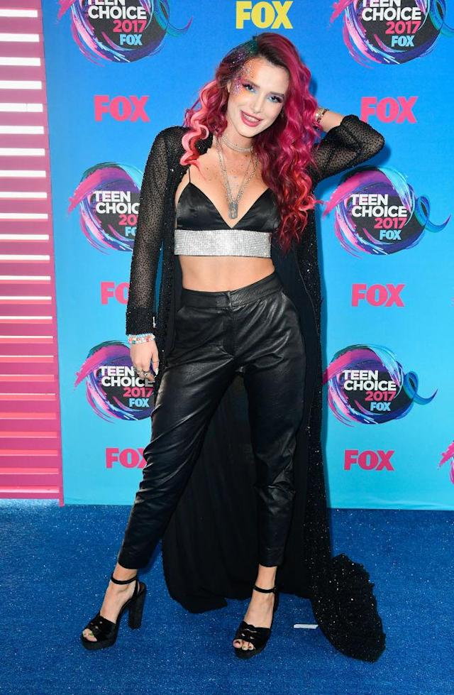 <p>The actress and singer, known for her edgy style, upped the ante at the TCA's with a bralette and leather pants look. Plus, there's a surprise to this look…(Photo: Getty Images) </p>