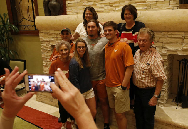 Texas Longhorns' Zach Shackelford poses for a family photo Friday Sept. 6, 2019 at the team hotel in Austin, Tx. ( Photo by Edward A. Ornelas )