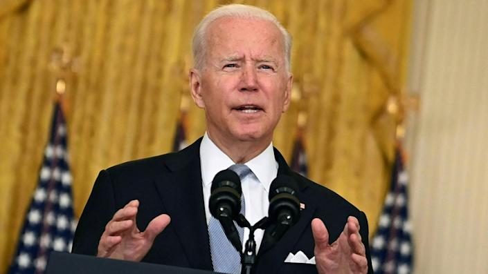 US President Joe Biden delivers remarks about the situation in Afghanistan in the East Room of the White House on August 16, 2021 in Washington,DC. (Brendan SmialowskiI/AFP via Getty Images)