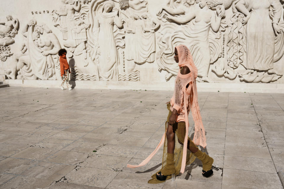 A model wears a creation for Rick Owens' Spring-Summer 2022 ready-to-wear fashion show presented Thursday, Sept. 30, 2021, in Paris. (AP Photo/Thibault Camus)