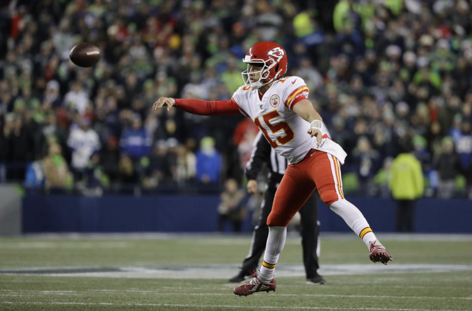 Patrick Mahomes needs two touchdown passes on Sunday to hit 50 in a season. That would put him in company with Tom Brady and Peyton Manning as the only QBs to accomplish the feat in the regular season. (AP)